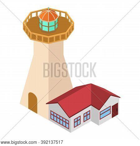 Coastal Lighthouse Icon. Isometric Illustration Of Coastal Lighthouse Vector Icon For Web