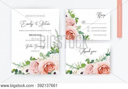 Floral, Watercolor Wedding Invite Card, Rsvp, Thank You Card Design. Blush Peach, Pink Garden Roses,