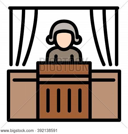 Courthouse Judge Man Icon. Outline Courthouse Judge Man Vector Icon For Web Design Isolated On White