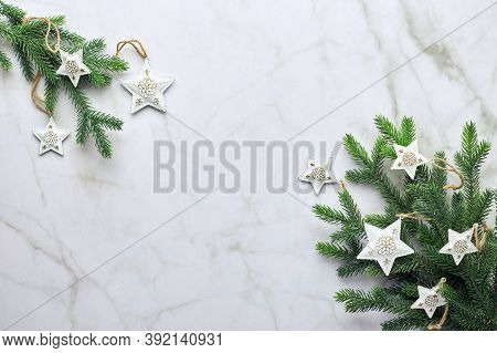 Christmas Ackground With Tree And Decorative Ornaments In The Form Of Stars. Flat Lay, Top View With
