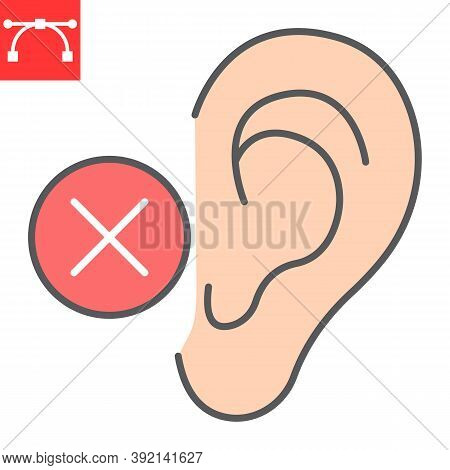 Deaf Color Line Icon, Disability And Deafness, Hearing Impaired Sign Vector Graphics, Editable Strok