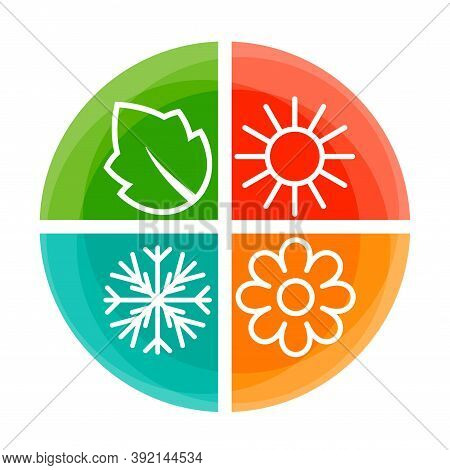 Four Season Symbols With Shadows. Summer, Autumn, Winter And Spring Icons In Squares Buttons. Outlin