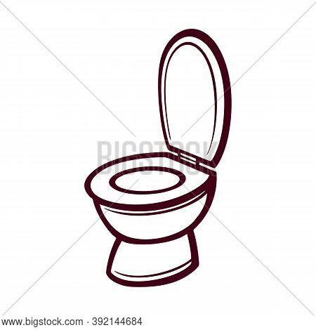Clean Toilet In Flat Style. Toilet Bowl, Toilet Paper, Toilet Brush. Flat Style. Vector Illustration