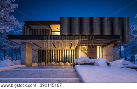 3D Rendering Of Modern House With Wood Plank Facade In Winter Night