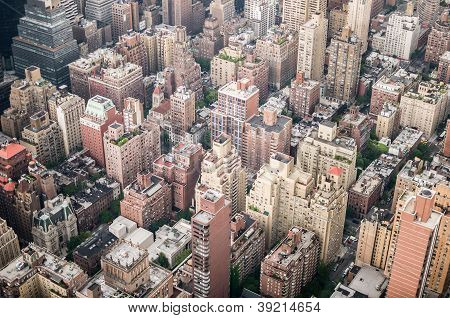 Aeriel Shot Of New York City Buildings
