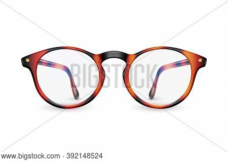 Vector 3d Realistic Plastic Brown Leopard Rimmed Eye Glasses Closeup Isolated On White Background. W