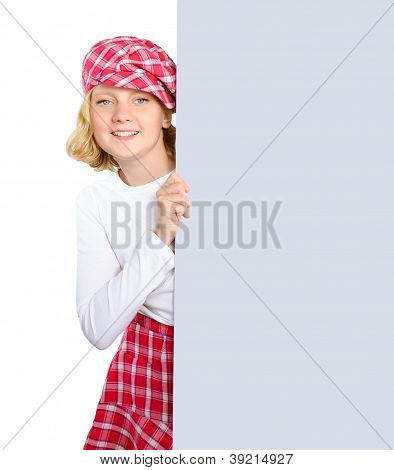 Smiling Girl Holding A Big Poster Isolated Over White Background