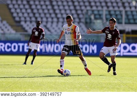 Torino, 28th October 2020. John Bjorkengren Of Us Lecce In Action   During The Coppa Italia Match  B