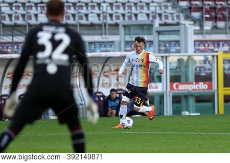 Torino, 28th October 2020. Liam Henderson Of Us Lecce In Action   During The Coppa Italia Match  Bet
