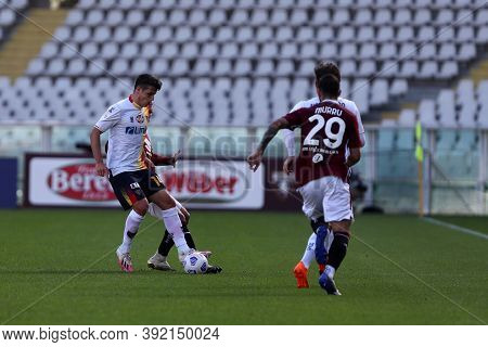 Torino, 28th October 2020. Mariusz Stepinski Of Us Lecce In Action   During The Coppa Italia Match