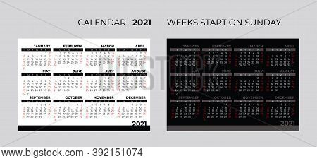 2021 Calendar Template. 2021 Yearly Minimalistic Calendar. 12 Months Yearly Calendar 2021.