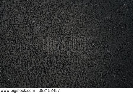 Leather Texture Black Background. Texture Of Genuine Leather. Backdrop Background Texture Effect For