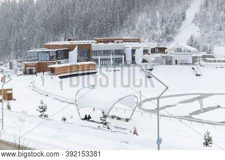 Bukovel, Ukraine - December 25: The Voda Spa Complex Is In Bukovel Ski Resort. It Is The Largest Ski