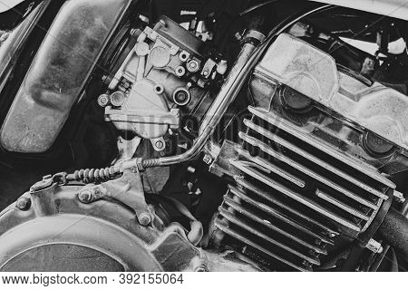 Motorcycle Details.motorcycle Engine Close Up.black And White Photo.