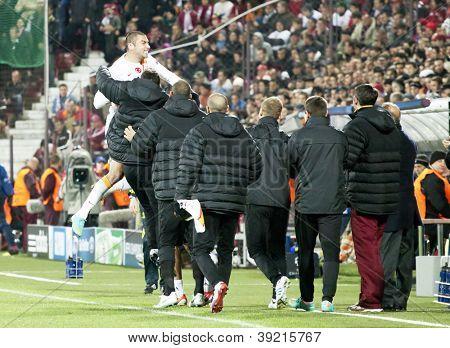 CLUJ-NAPOCA, ROMANIA - NOVEMBER 7: Galatasaray team after scoring a goal, UEFA Champions League, CFR 1907 Cluj vs Galatasaray, Dr. C. Radulescu Stadium on 7 Nov., 2012 in Cluj-Napoca, Romania
