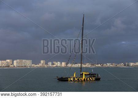 Les Sables D'olonne, France - October 29, 2020: Armel Tripon Boat (l'occitane En Provence) In The Ba
