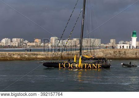 Les Sables D'olonne, France - October 29, 2020: Armel Tripon Boat (l'occitane En Provence) In The Ch