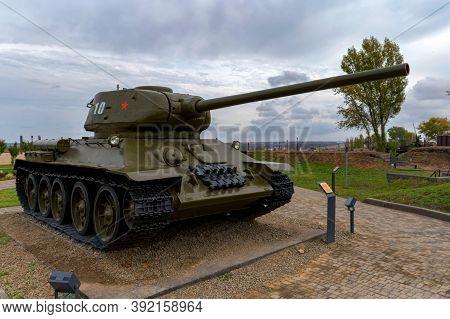 Sambek, Russia - Circa October 2020: Medium Tank T-34-85