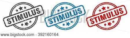 Stimulus Stamp. Stimulus Round Isolated Sign. Stimulus Label Set