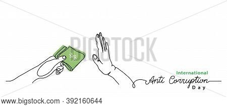 International Anti Corruption Day Banner, Poster, Background. Simple Vector Line Art With Text Anti