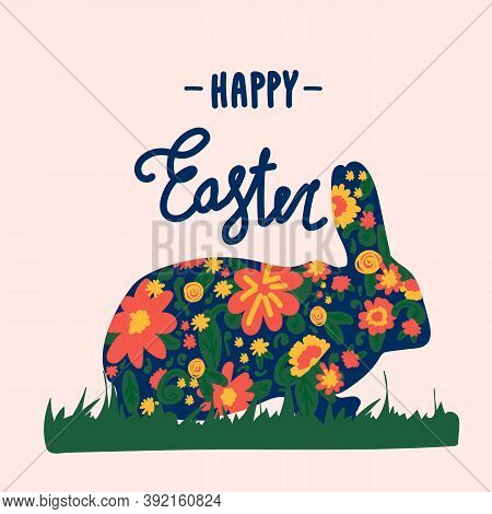 Illustration By Easter Bunnies. Greeting Card With A Vector Floral Background For The Spring Holiday