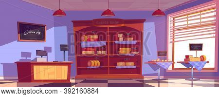Cheese Shop Interior With Cheddar And Gouda Slices On Tables And Shelves. Vector Cartoon Illustratio