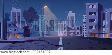 Night City Destroy In War Zone, Abandoned Buildings And Bridge With Smoke And Creepy Glow. Destructi