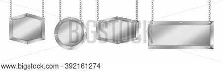 Metal Signboards Different Shapes, Board With Steel Frame Hanging On Chains. Vector Realistic Set Of