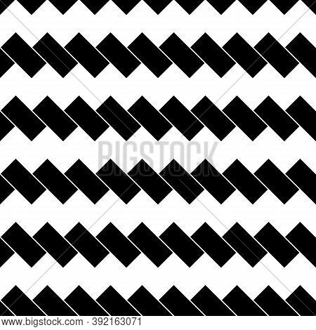 Black Diagonal Dashes On White Background. Seamless Surface Pattern With Linear Ornament. Angled Str