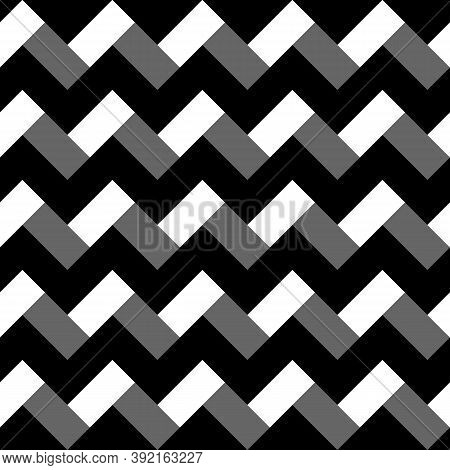 Zigzag Weaving Lines. Herringbone Motif. Jagged Blocks And Stripes. Seamless Surface Pattern Design