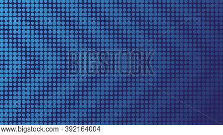 Minimal Blue Halftone Background. Circles, Dots Of Various Diameters With Diagonal Stripes In The Fo