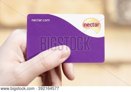 London / Uk - October 28th 2020 - Holding Sainsbury's Nectar Card, Customer Loyalty Points Card.