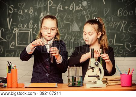 Private School. Knowledge Crossroads Molecular Biology And Chemistry. School Project Investigation.