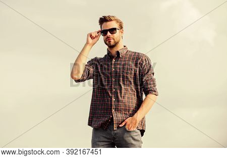 Eyes Health. Fashionable Sunglasses. Hipster Man In Trendy Sunglasses. Ultraviolet Protection Concep