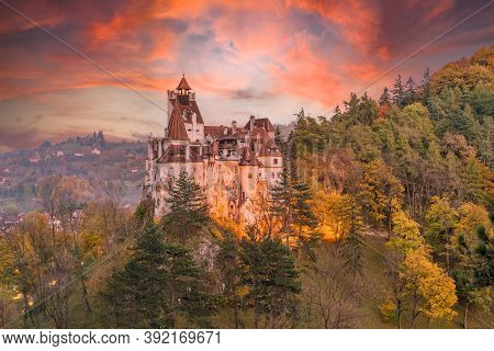 Landscape With Medieval Bran Castle At Sunset, Brasov Landmark, Transylvania, Romania