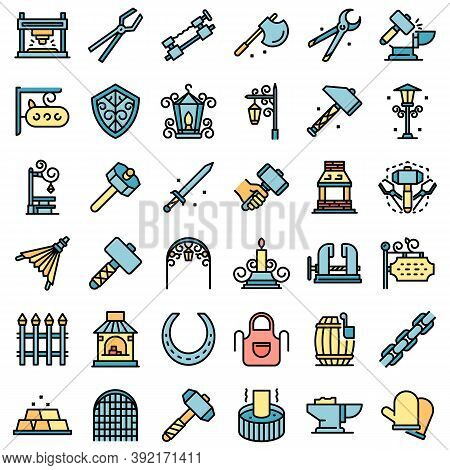 Blacksmith Icons Set. Outline Set Of Blacksmith Vector Icons Thin Line Color Flat On White