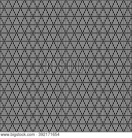 White Vertical Lines On Black Background. Seamless Surface Pattern Design With Linear Ornament. Stro