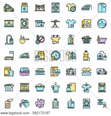 Dry Cleaning Icons Set. Outline Set Of Dry Cleaning Vector Icons Thin Line Color Flat On White