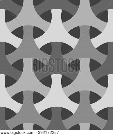 Seamless Surface Pattern Design With Traditional Japanese Ornament. Three Pronged Blocks Tessellatio