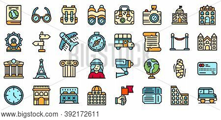 Sightseeing Icons Set. Outline Set Of Sightseeing Vector Icons Thin Line Color Flat On White