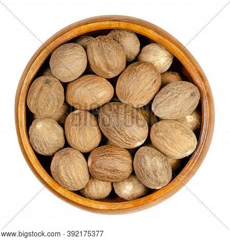 Dried Whole Nutmegs In A Wooden Bowl. Fragrant Or True Nutmeg, Seed Of Myristica Fragrans With Disti