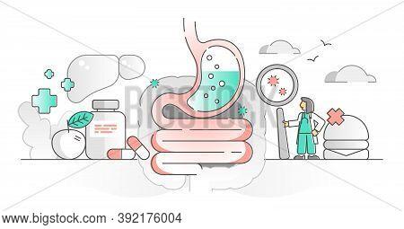 Gastroenterology As Stomach And Digestive System Monocolor Outline Concept. Healthcare Medicine Fiel
