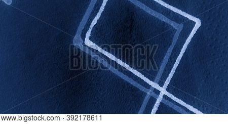 Indigo Hand Drawn Rhombus. Indigo Hand Drawn Rhombus. Abstract Geometry. Clouds Chevron Background.