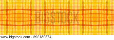 Orange Tartan Background. Watercolor Picnic Border. Retro Traditional Squares For Twill Design. Seam