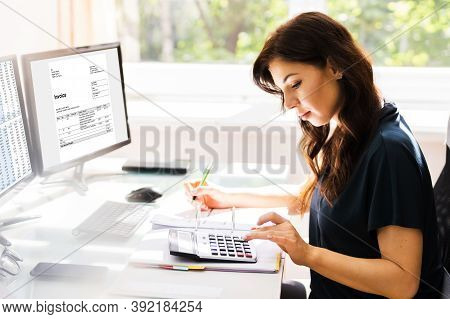 E Invoice On Computer. Woman Using Electronic Spreadsheet