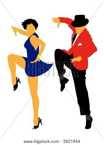 Abstract vector illustration of american latin dancers poster