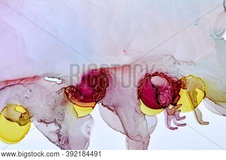 Alcohol Inks Background. Art Drop Splash. Pink Sophisticated Pattern. Orange Creative Flow. Alcohol