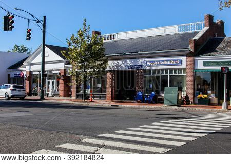NEW CANAAN, CT, USA - OCTOBER 4, 2020: People's Bank in New Canaan downtown