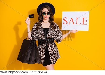 Photo Of Dreamy Girl Shopping Center Client Hold Credit Card Text Word Sale Bags Send Air Kiss Wear