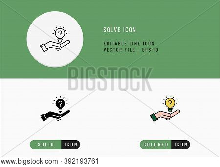Solve Icons Set Editable Stroke Vector Illustration. Problem Solving Advise Symbol. Icon Line Style